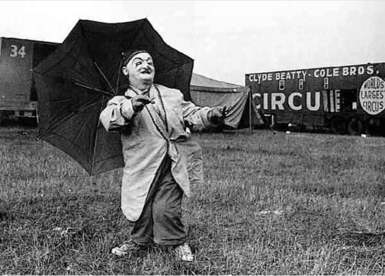 Shorty Hinkle posing at the circus