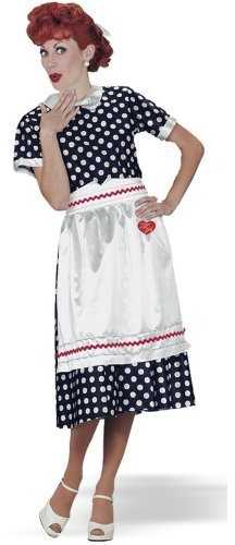 I Love Lucy classic costume - the Lucy Ricardo dress (polka dot dress, apron with imprinted insignia) made famous by Lucille Ball